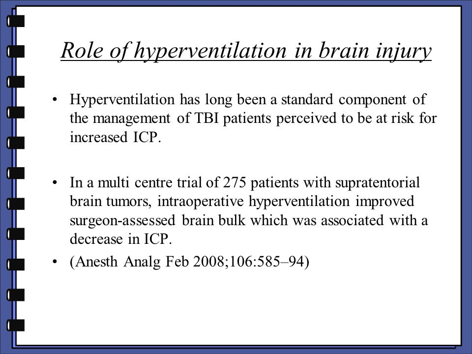 Role of hyperventilation in brain injury