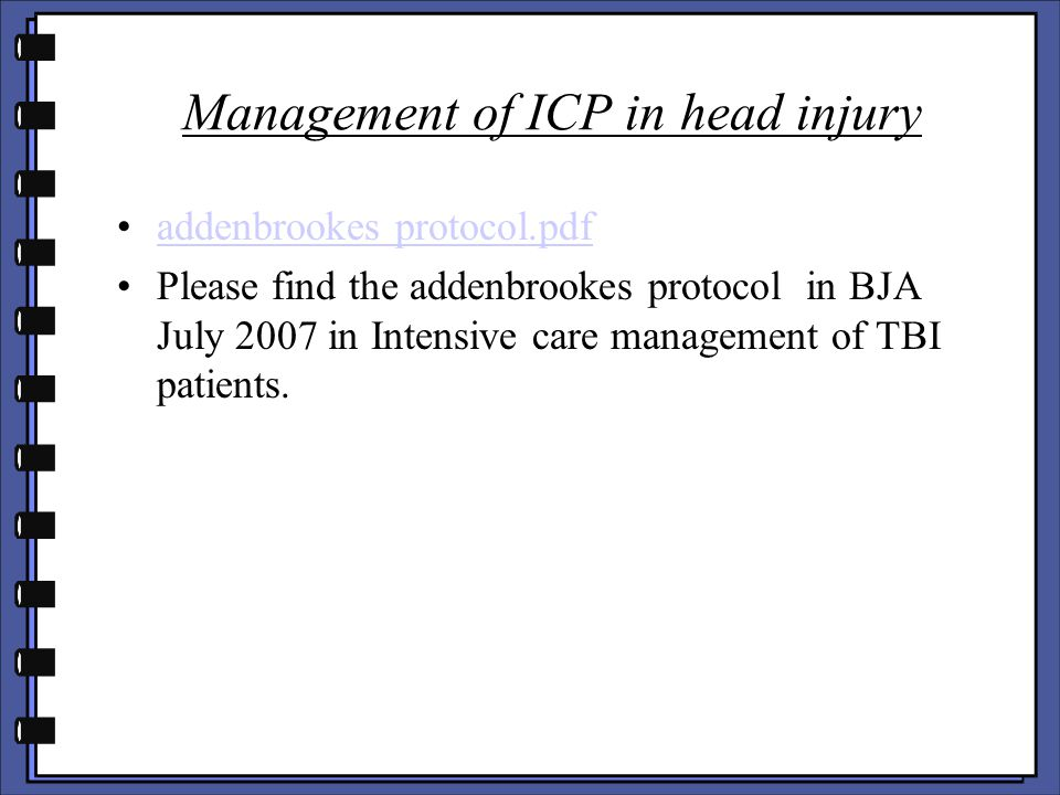 Management of ICP in head injury