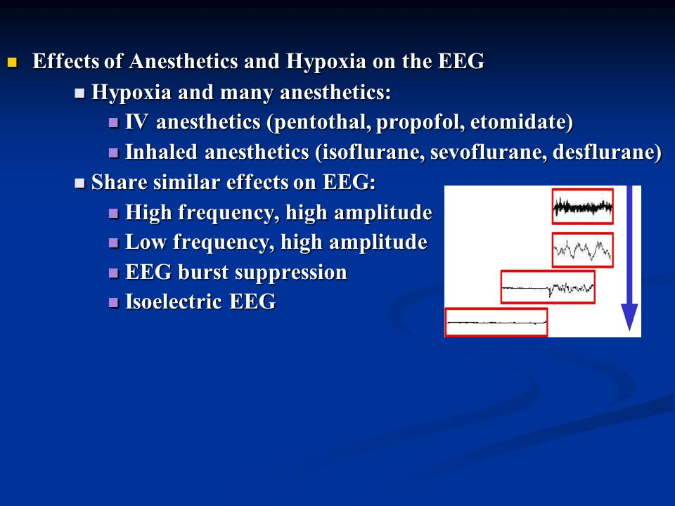 Effects of Anesthetics and Hypoxia on the EEG