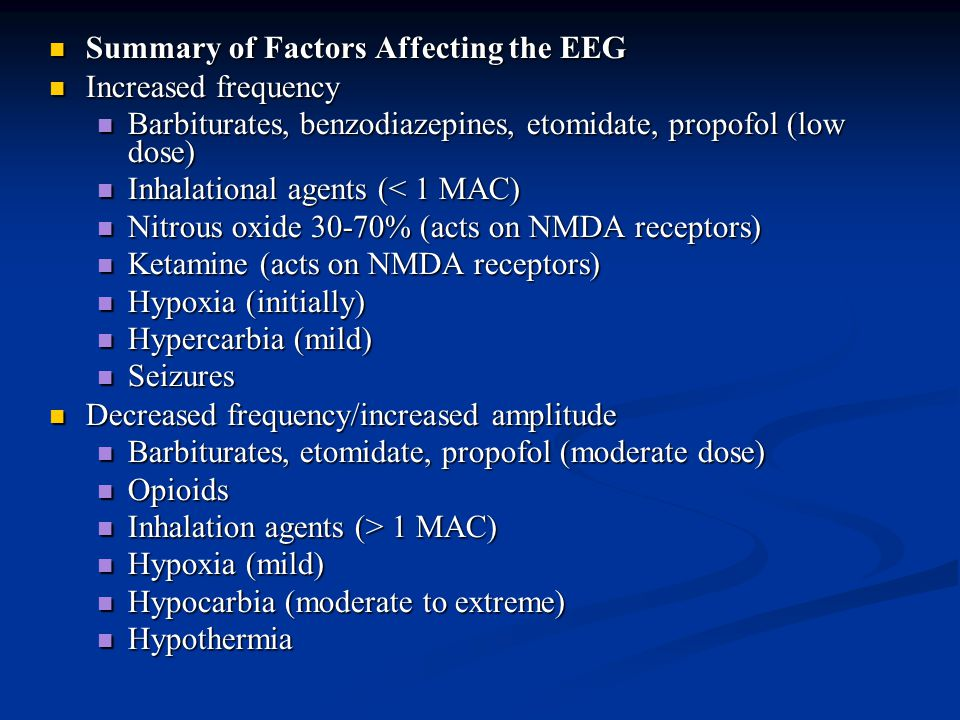 Summary of Factors Affecting the EEG