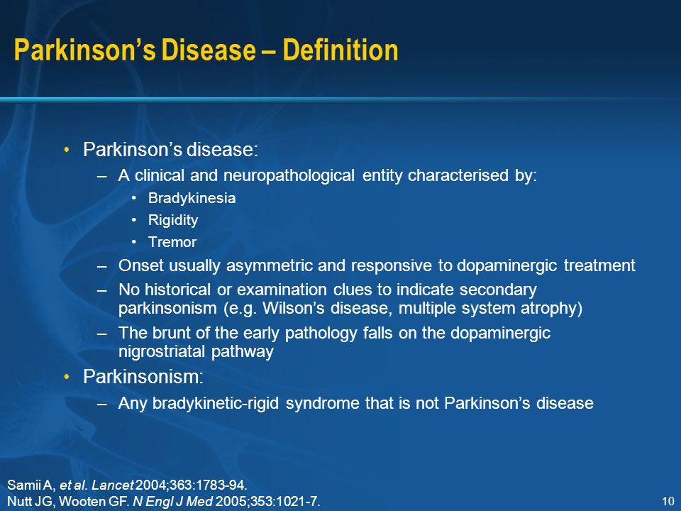 an introduction to the history of parkinsons disease Parkinson's disease is a neurological disorder with evolving layers of complexity it has long been characterised by the classical motor features of parkinsonism associated with lewy bodies and loss of dopaminergic neurons in the substantia nigra.