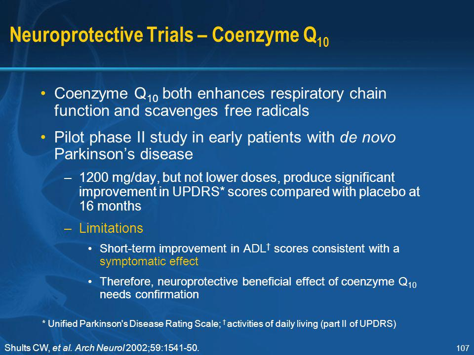 Neuroprotective Trials – Coenzyme Q10