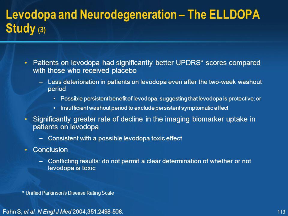 Levodopa and Neurodegeneration – The ELLDOPA Study (3)