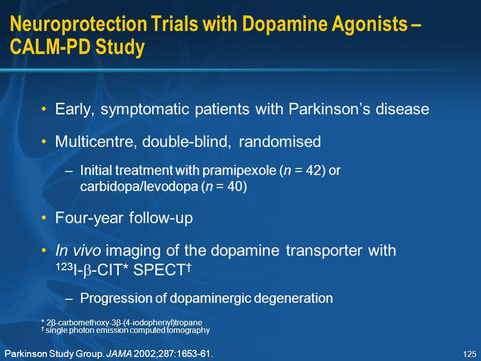 Neuroprotection Trials with Dopamine Agonists – CALM-PD Study
