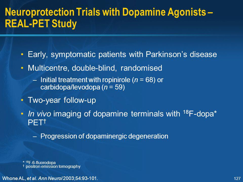 Neuroprotection Trials with Dopamine Agonists – REAL-PET Study