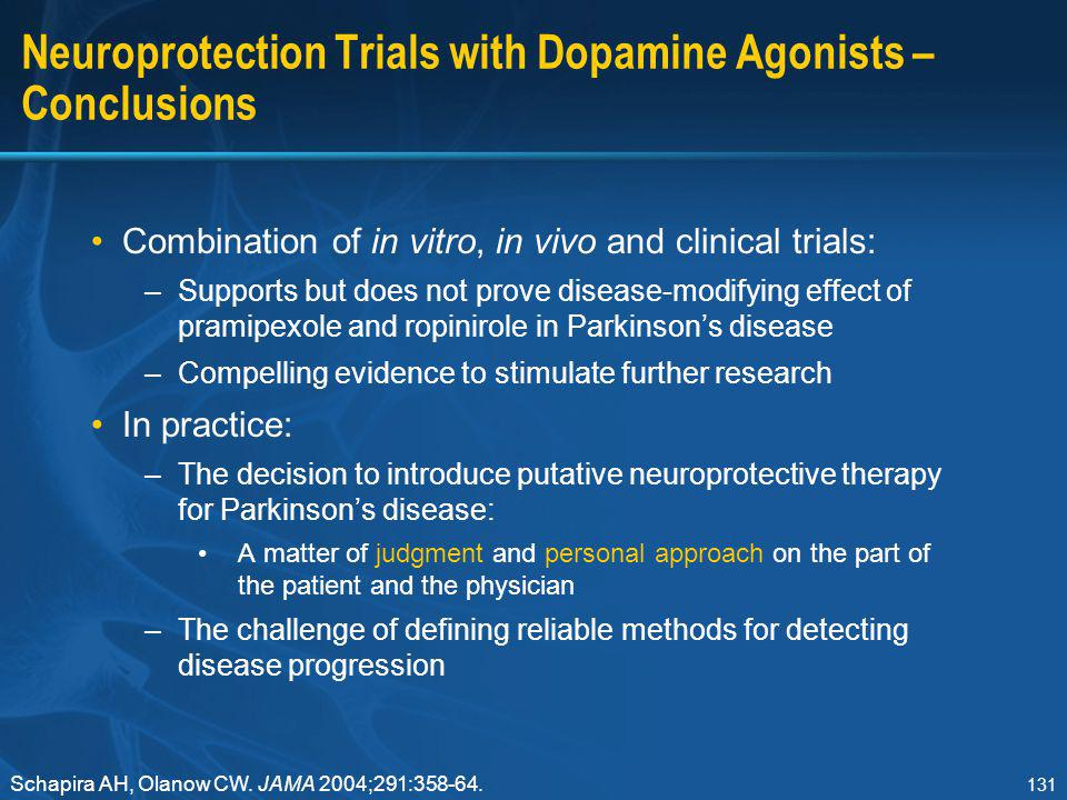 Neuroprotection Trials with Dopamine Agonists – Conclusions