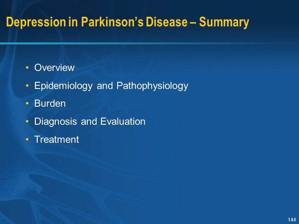 Depression in Parkinson's Disease – Summary