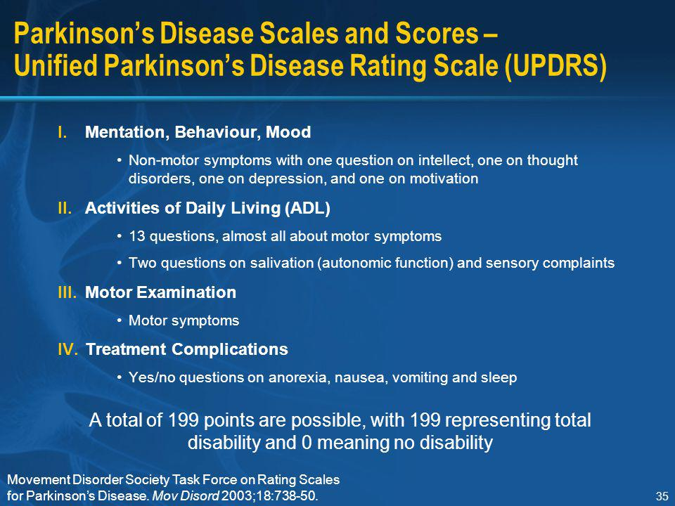 Section I Parkinson's Disease Scales and Scores – Unified Parkinson's Disease Rating Scale (UPDRS) Mentation, Behaviour, Mood.
