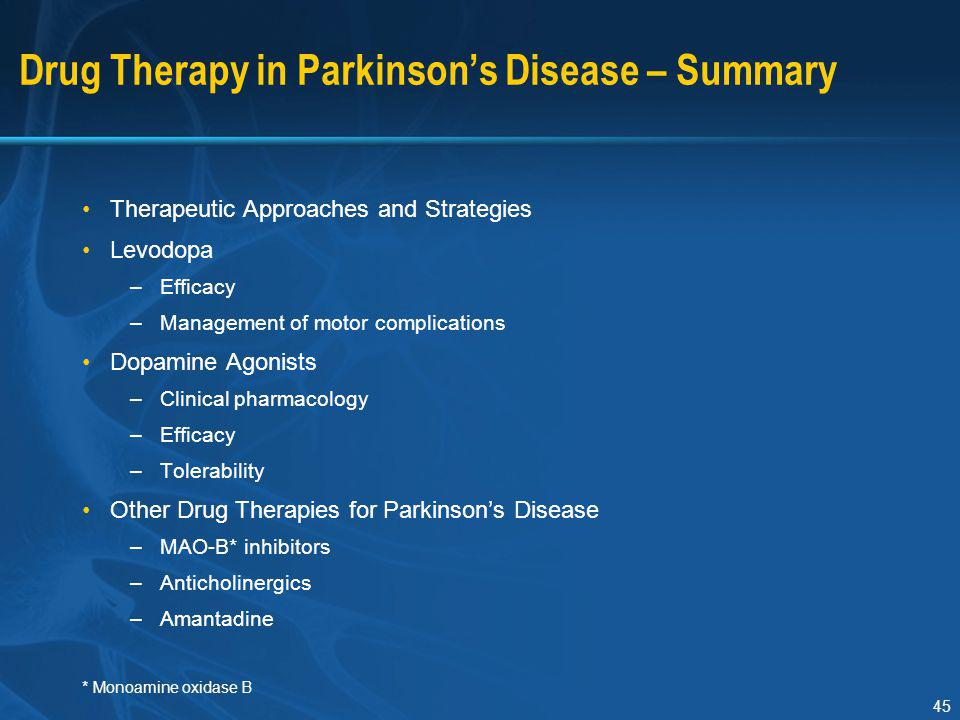 Drug Therapy in Parkinson's Disease – Summary