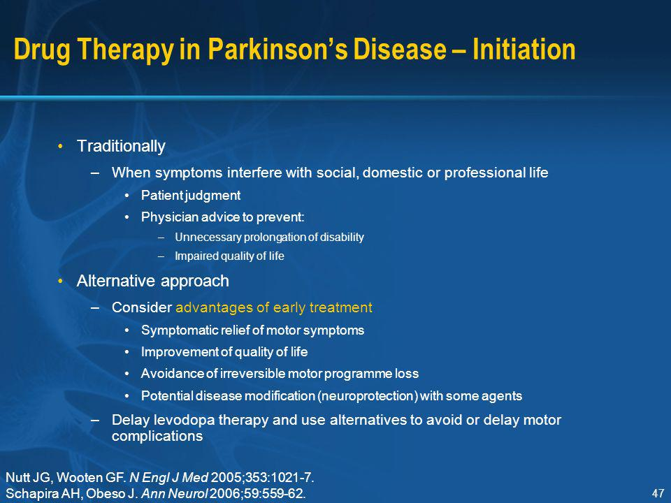 Drug Therapy in Parkinson's Disease – Initiation