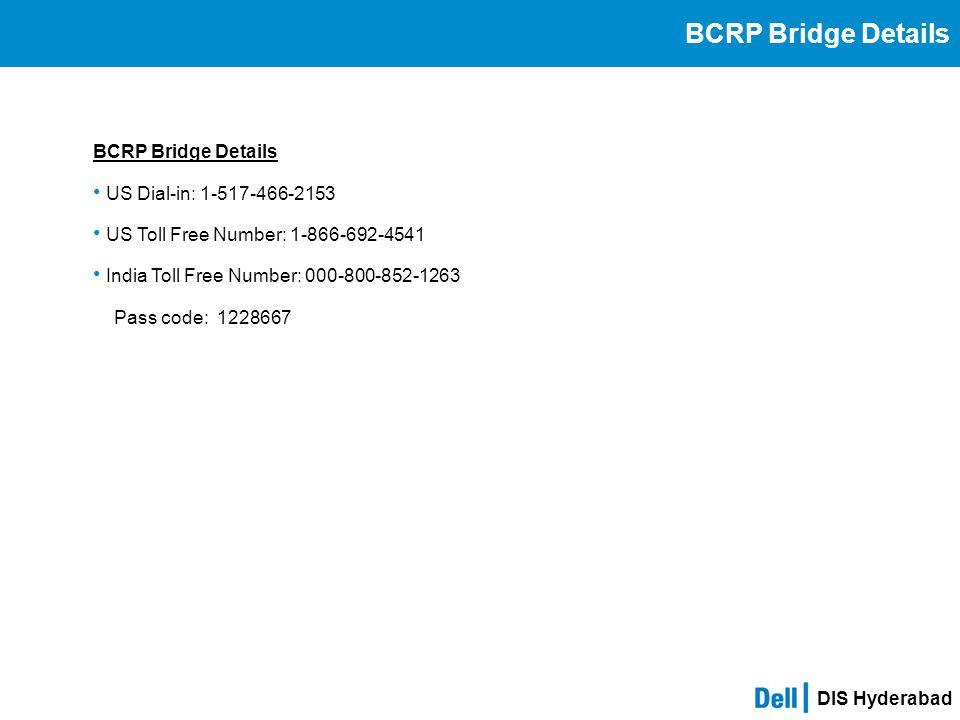 BCRP Bridge Details BCRP Bridge Details US Dial-in: 1-517-466-2153