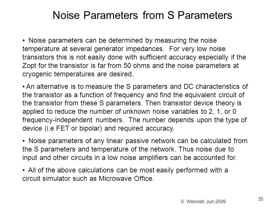 Noise Parameters from S Parameters