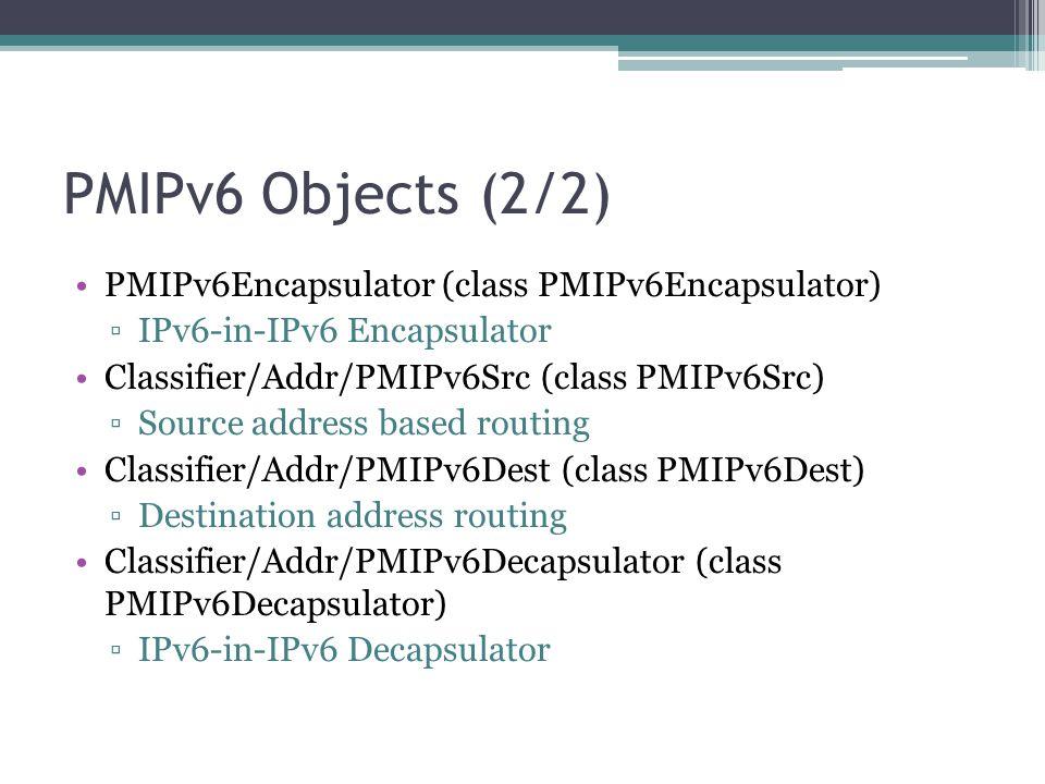 PMIPv6 Objects (2/2) PMIPv6Encapsulator (class PMIPv6Encapsulator)