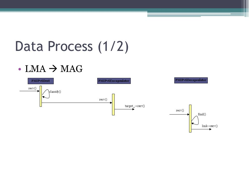 Data Process (1/2) LMA  MAG PMIPv6Dest PMIPv6Encapsulator