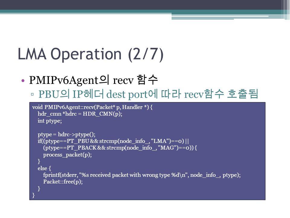 LMA Operation (2/7) PMIPv6Agent의 recv 함수