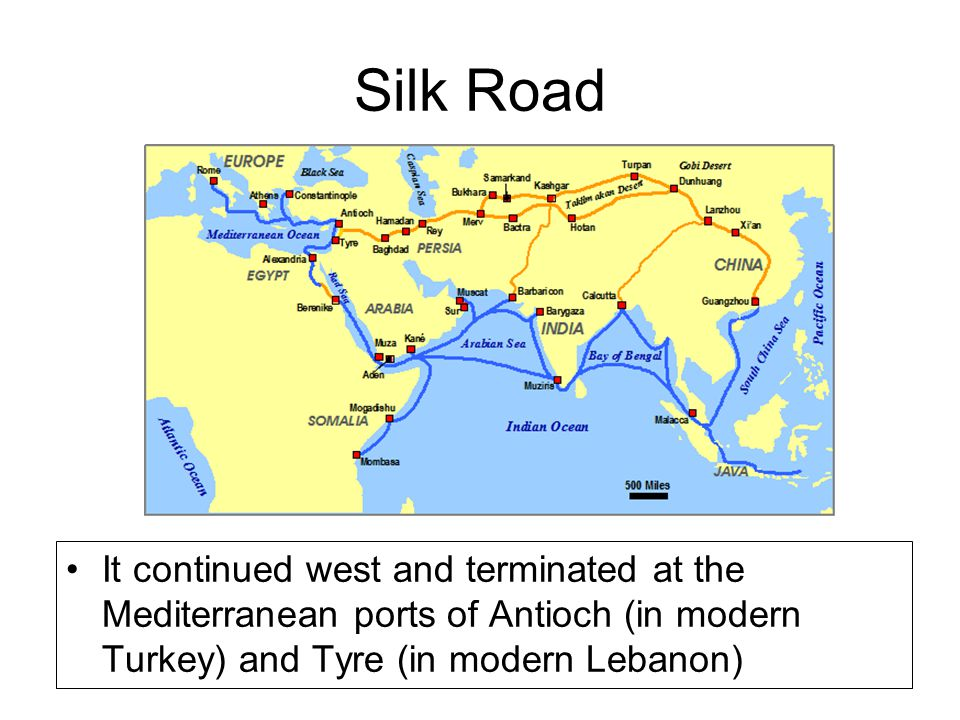 Silk Road It continued west and terminated at the Mediterranean ports of Antioch (in modern Turkey) and Tyre (in modern Lebanon)