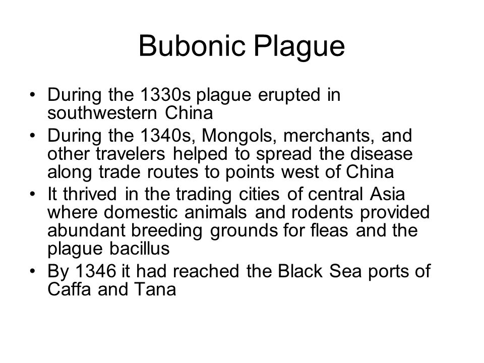 Bubonic Plague During the 1330s plague erupted in southwestern China