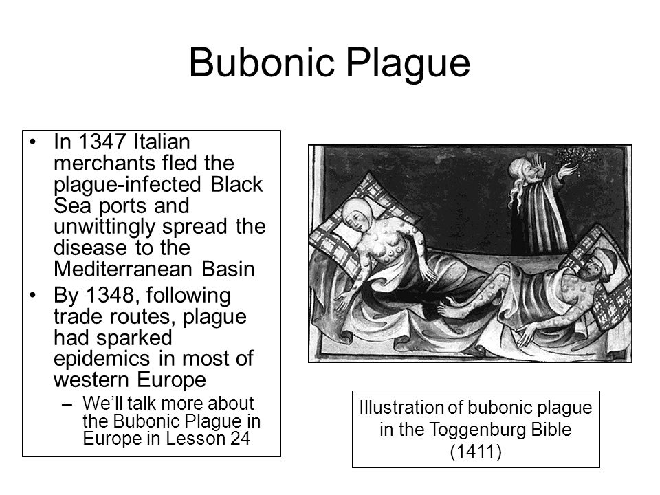 Illustration of bubonic plague in the Toggenburg Bible (1411)