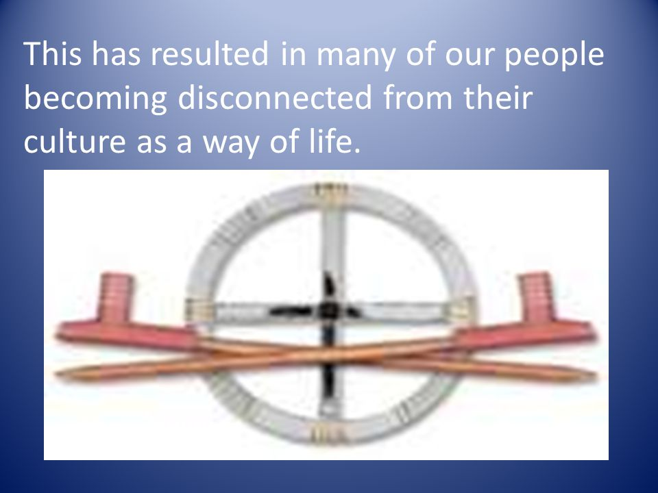 This has resulted in many of our people becoming disconnected from their culture as a way of life.