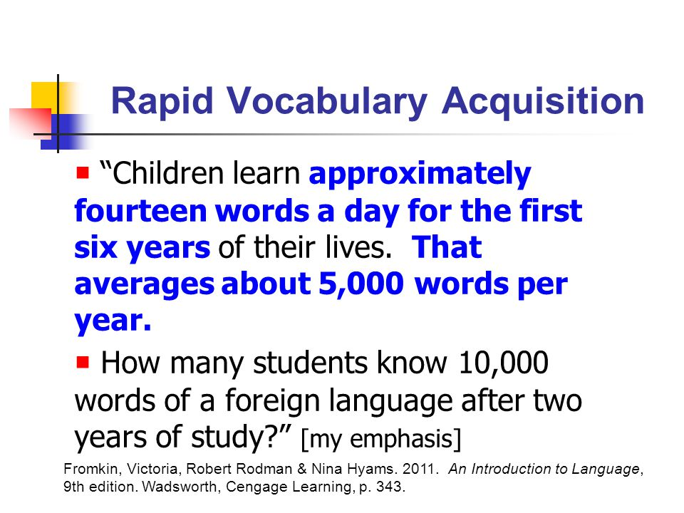 Rapid Vocabulary Acquisition