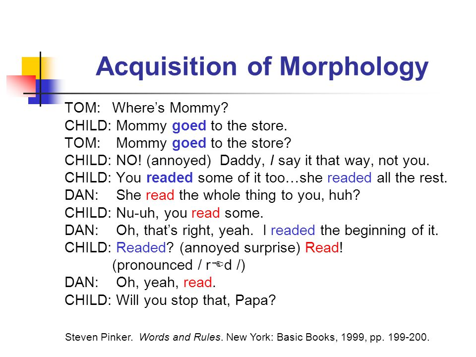 Acquisition of Morphology