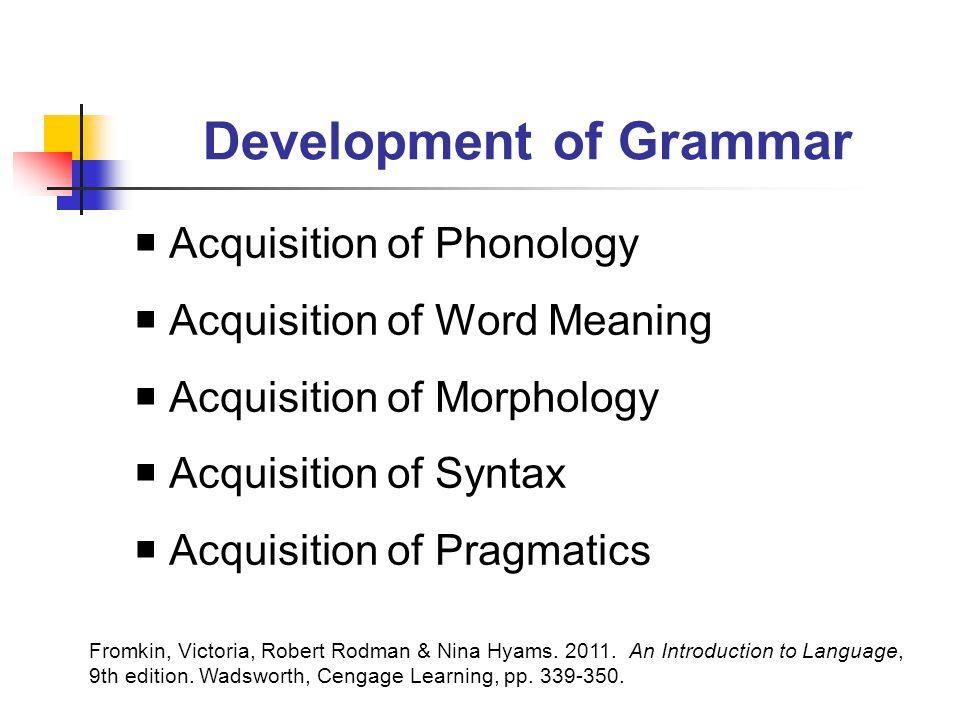 Development of Grammar