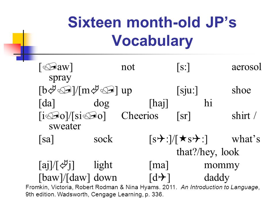 Sixteen month-old JP's Vocabulary