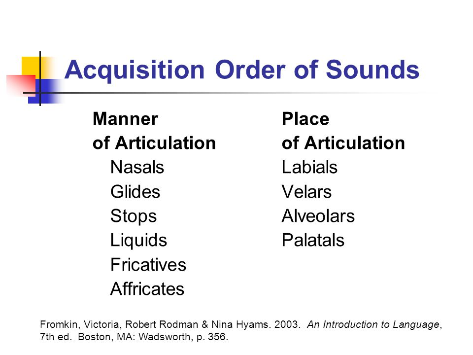 Acquisition Order of Sounds