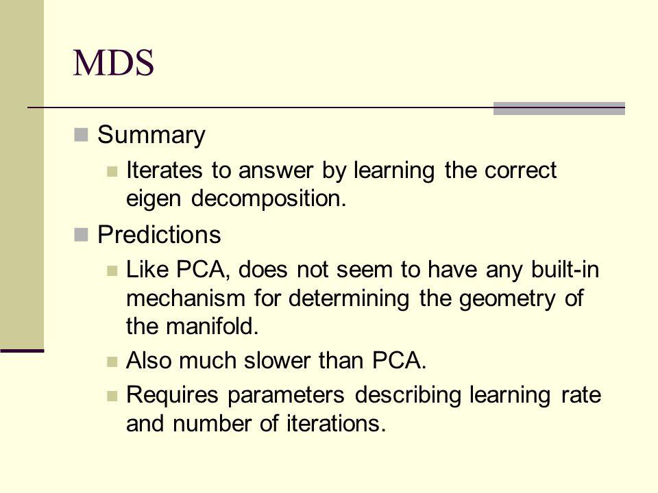 MDS Summary Predictions