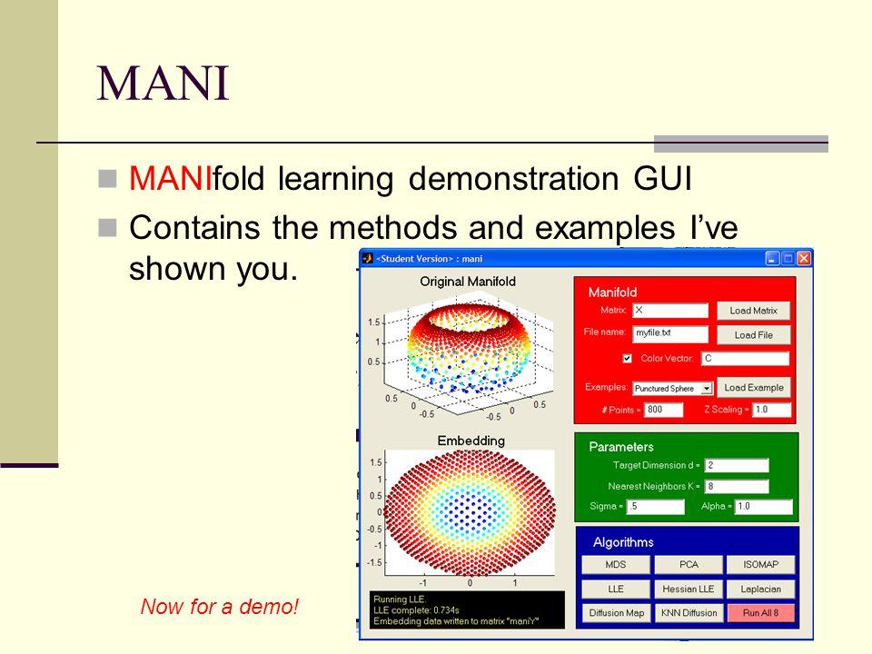 MANI MANIfold learning demonstration GUI
