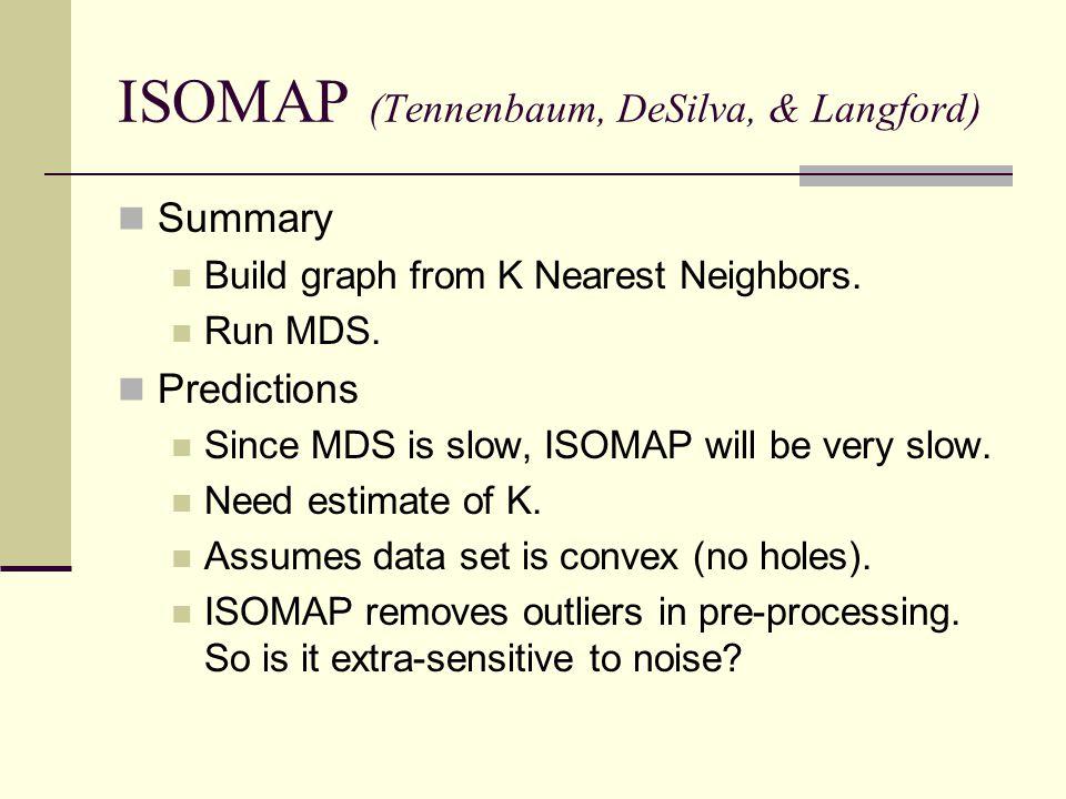 ISOMAP (Tennenbaum, DeSilva, & Langford)