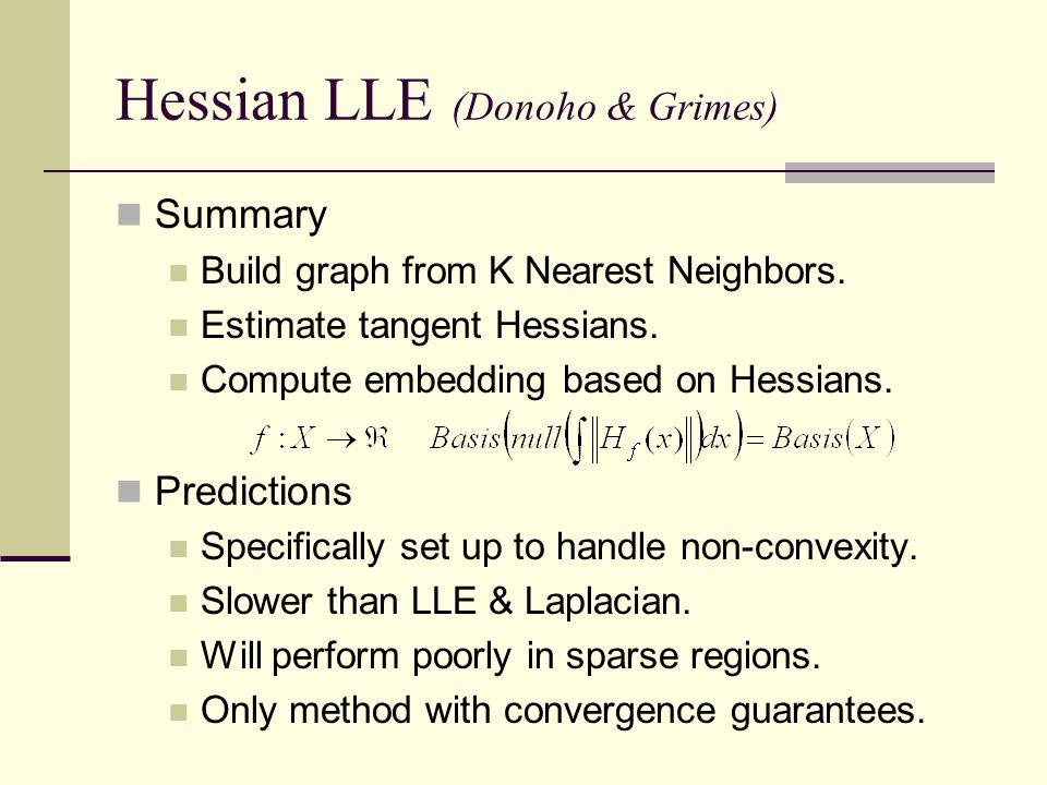 Hessian LLE (Donoho & Grimes)