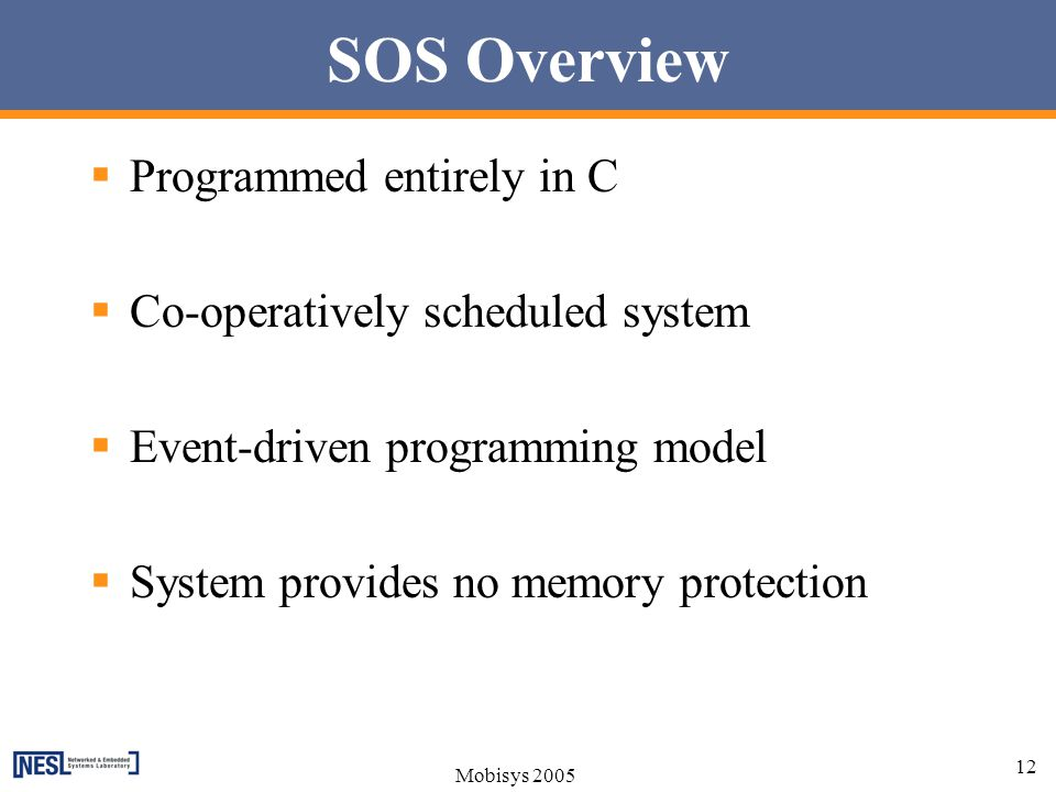 SOS Overview Programmed entirely in C Co-operatively scheduled system
