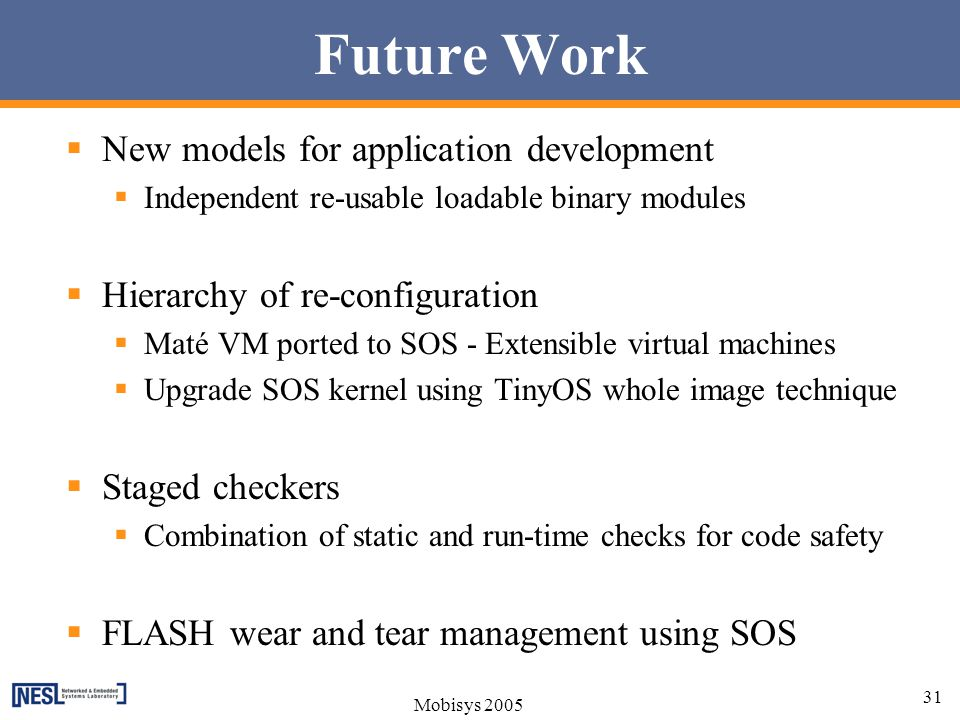 Future Work New models for application development