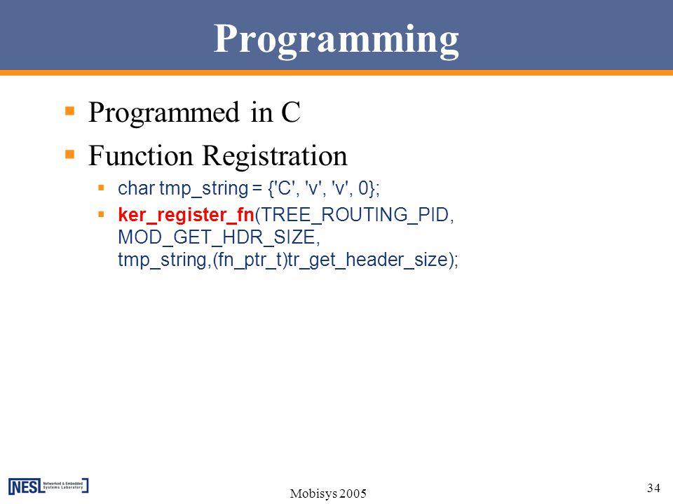 Programming Programmed in C Function Registration