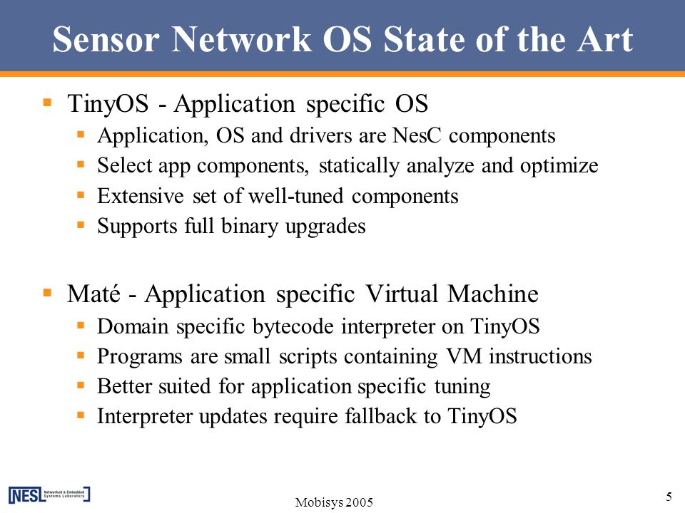 Sensor Network OS State of the Art