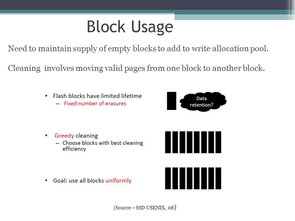 Block Usage Need to maintain supply of empty blocks to add to write allocation pool.
