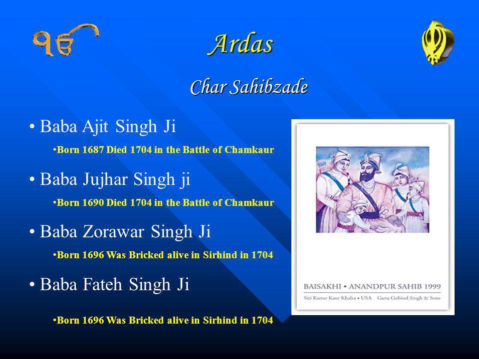 Ardas Char Sahibzade Baba Ajit Singh Ji Baba Jujhar Singh ji
