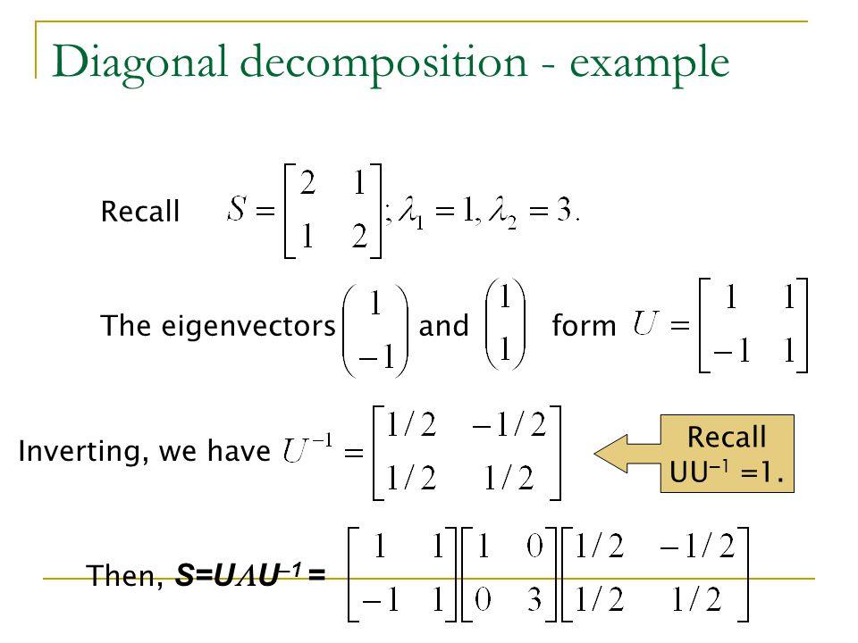 Diagonal decomposition - example
