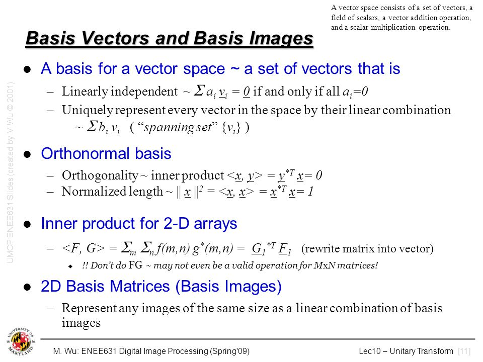 Basis Vectors and Basis Images