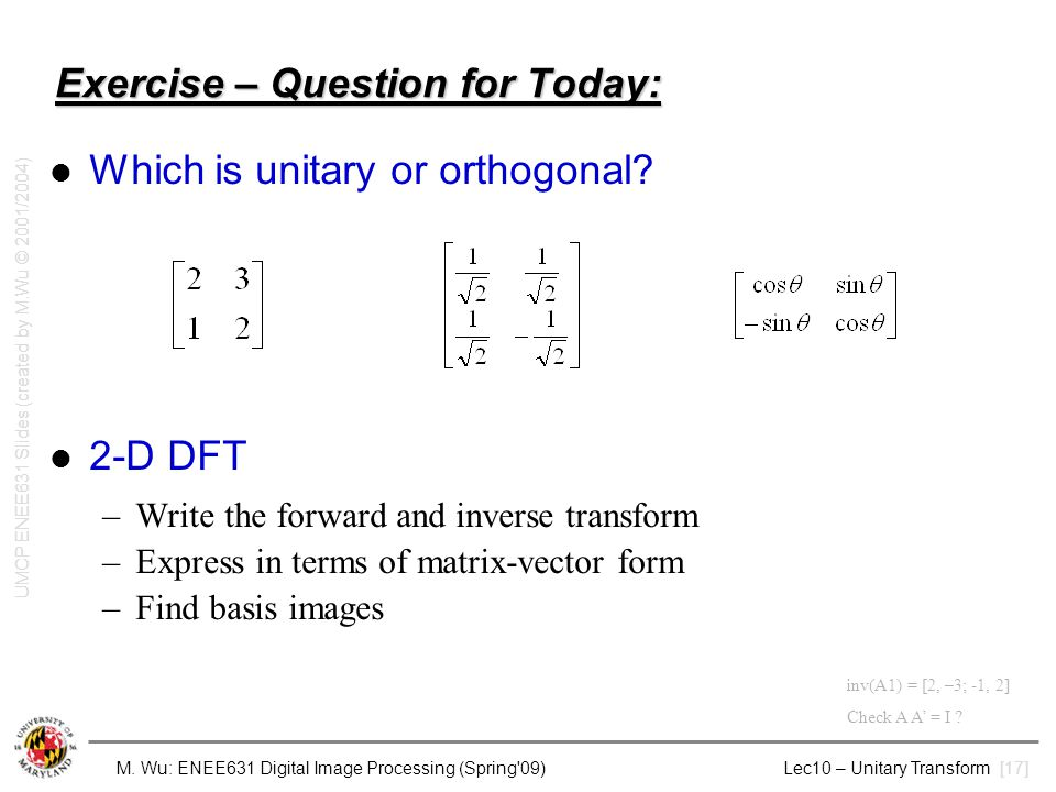 Exercise – Question for Today: