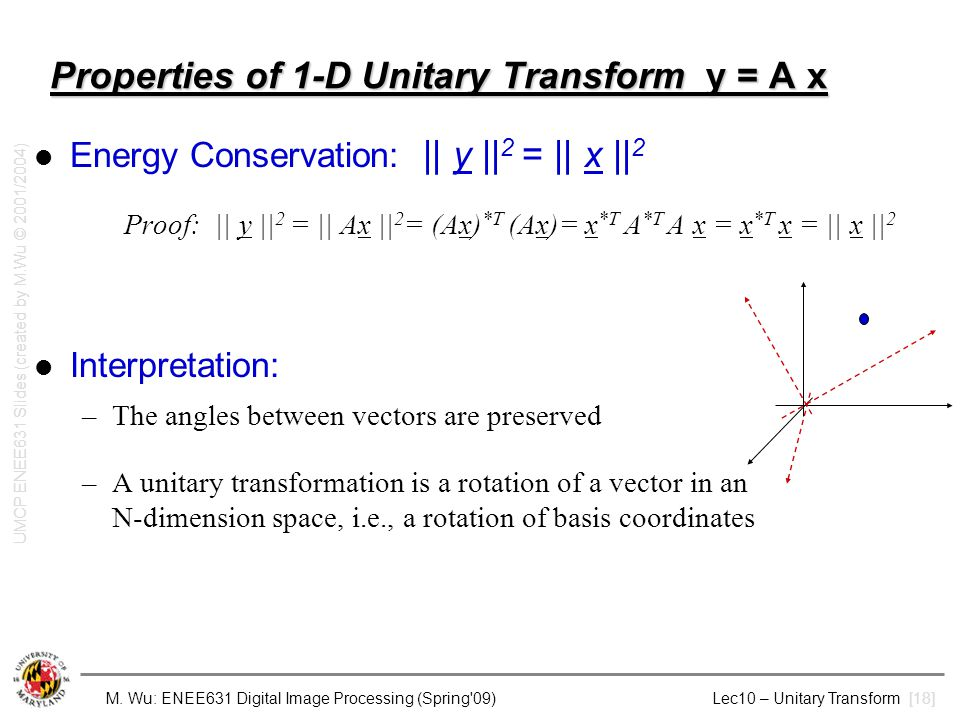 Properties of 1-D Unitary Transform y = A x