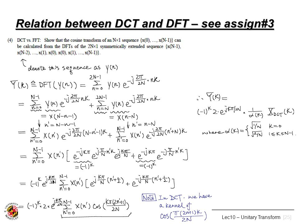 Relation between DCT and DFT – see assign#3