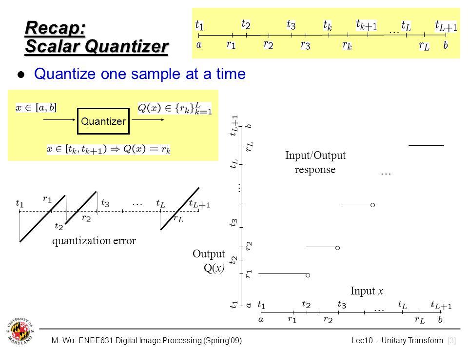 Recap: Scalar Quantizer