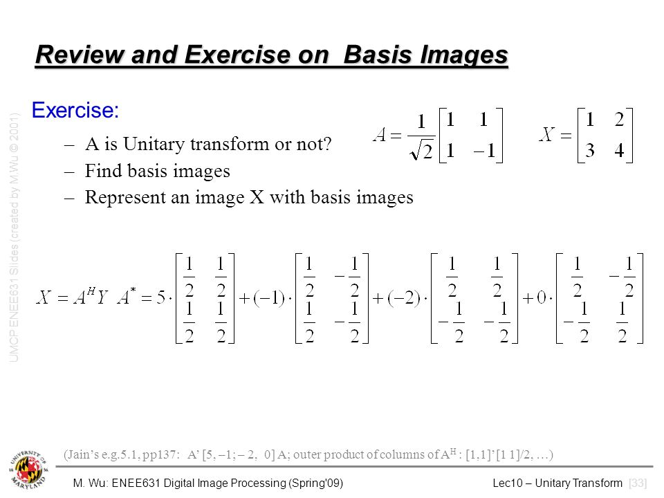 Review and Exercise on Basis Images