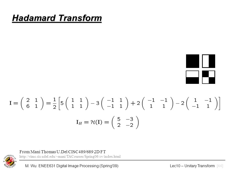4/8/2017 Hadamard Transform. From Mani Thomas U.Del CISC489/689 2D FT http://vims.cis.udel.edu/~mani/TACourses/Spring06/cv/index.html.