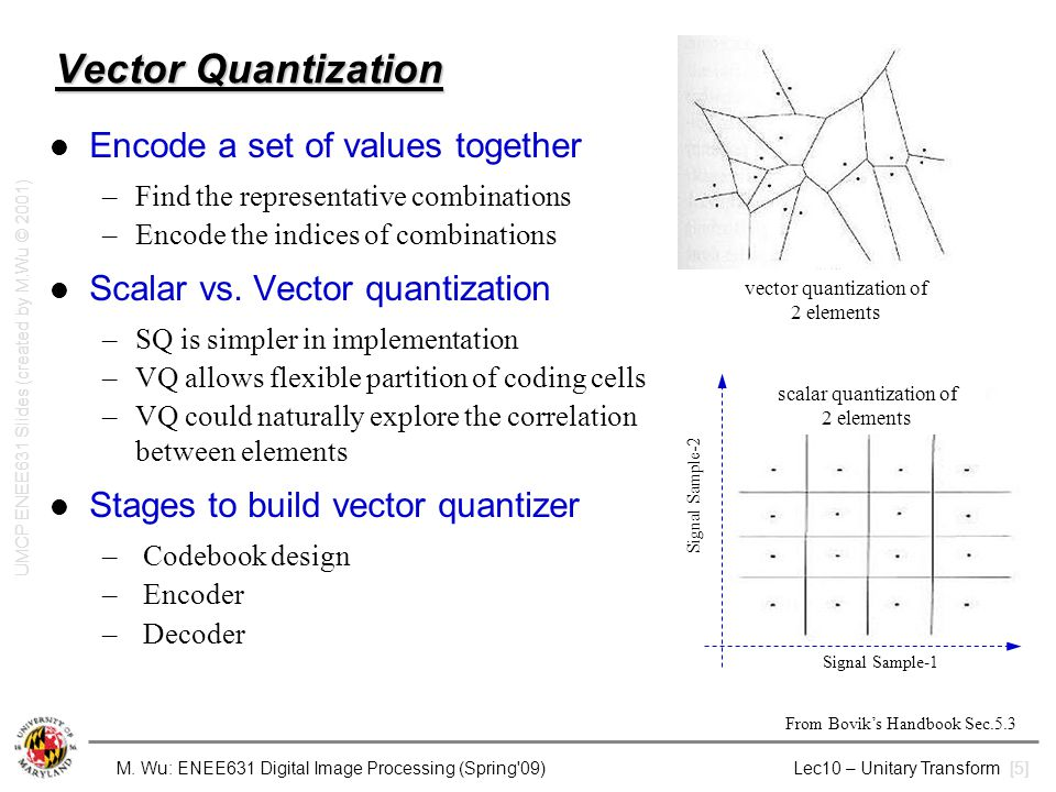 Vector Quantization Encode a set of values together