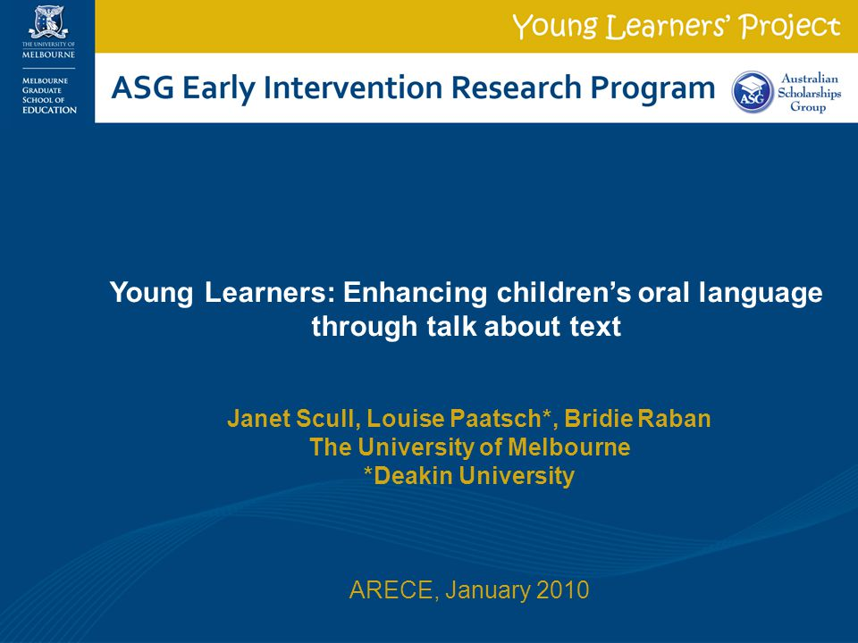 Young Learners: Enhancing children's oral language through talk about text