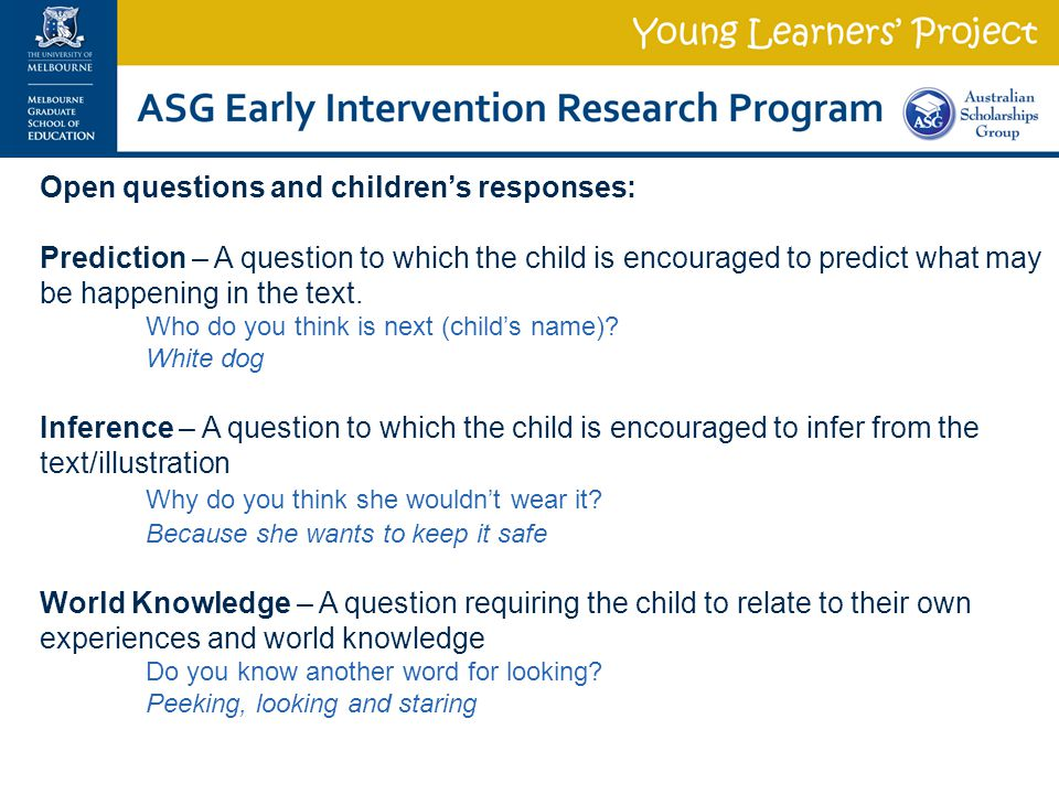 Open questions and children's responses: