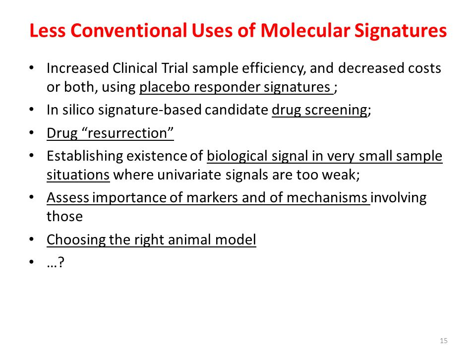Less Conventional Uses of Molecular Signatures
